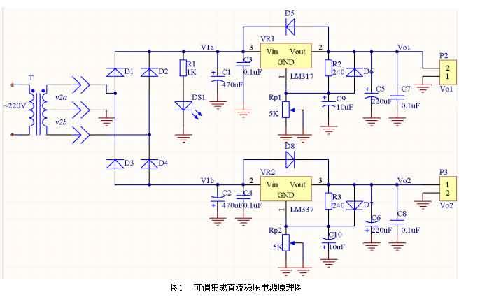 可调集成直流稳压电源原理图如图1所示.