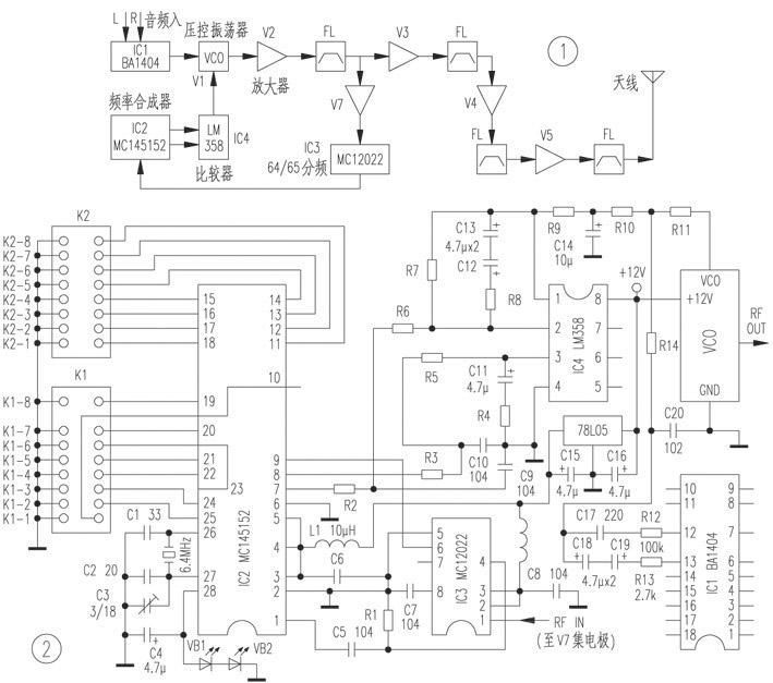 其中,10bit÷n计数器,6bit÷a计数器,模拟控制逻辑和外接双模前置分频